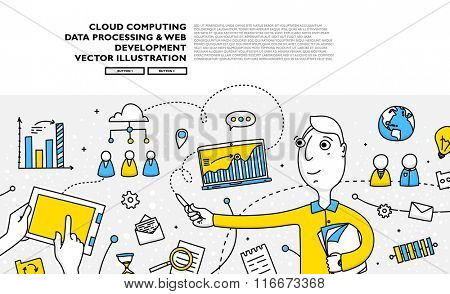 Flat Style, Thin Line Art Design. Set of application development, web site coding, information and mobile technologies vector icons and elements. Modern concept vectors collection