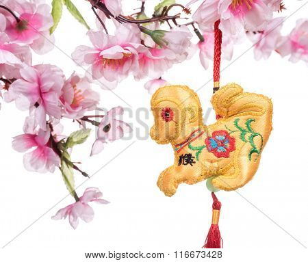 2016 is year of the monkey,chinese traditional knot,Translation of icon mean monkey