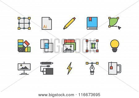 Design process color icons. Line art. Stock vector.