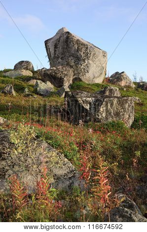 Granite boulders on the hills of the Kola Peninsula