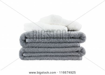 Stack Of Bath Towels. Isolated Over White