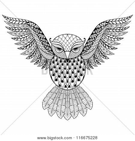 Zentangle vector Owl for adult anti stress coloring pages. Ornam