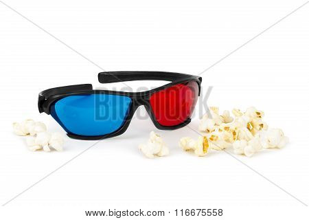 Stereo glasses and popcorn