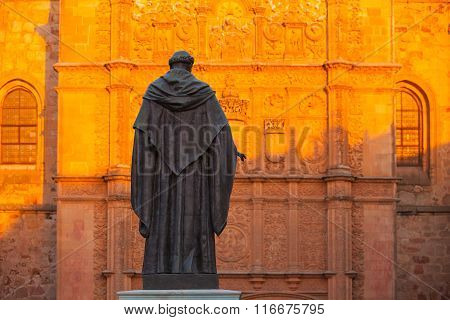 The Priest Statue In Front Of The New Cathedral Of Salamanca