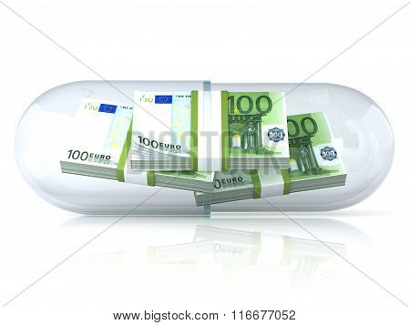 Transparent pill capsule with euros stack inside