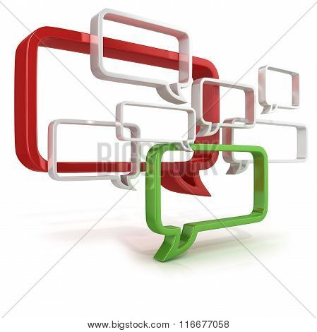 Conceptual 3d illustration of speech bubbles
