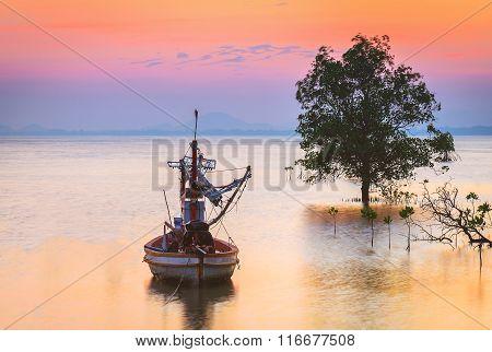 Fishing Boat At Twilight Time In Phuket, Thailand.
