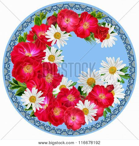 Flowers In A Circle. Round Form. Round Floral Background. A Branch Of Red Climbing Roses, Chamomile