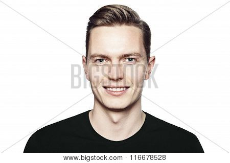 Portrait Of Young Handsome Man With Gentle Smile