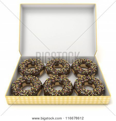 Box of chocolate donuts. Front view. 3D
