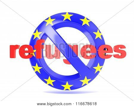 Forbidden sign with EU flag and refugees. Refugees crisis concept. 3D