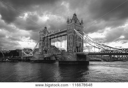 Black And White Tower Bridge At London, Uk