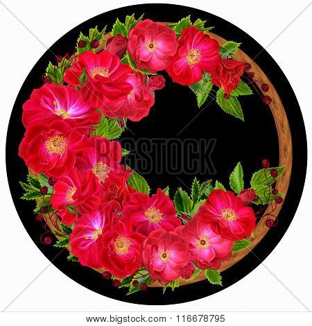 Flowers Of Red Roses In A Circle On A Black Background. Round Form.