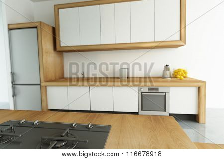 3D rendering of a modern kitchen with lots of copy space