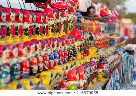 Colorful Russian Nesting Dolls Matreshka At The Market.