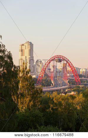 Picturesque Bridge At Sunset Time