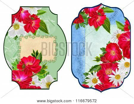 Set Labels. Card, Invitation, Business Card. Flower Pattern. Roses Are Red, White Flowers Anemones,
