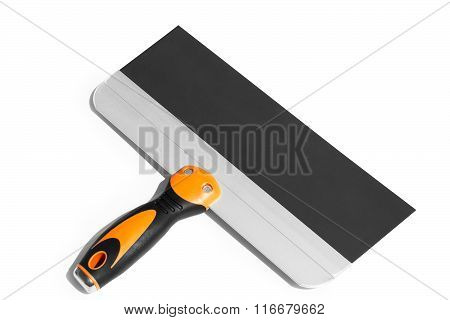 Putty Knife With Black And Orange Rubber Handle