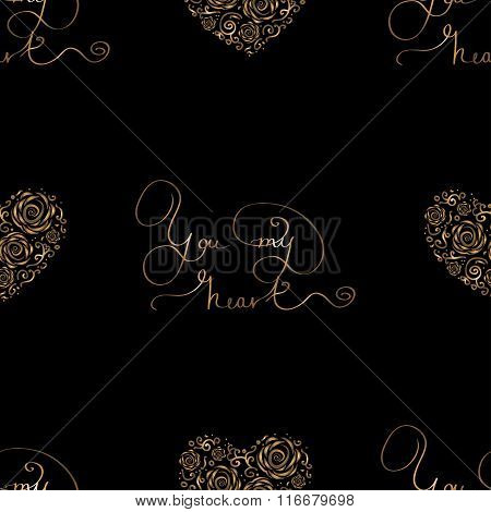 Seamless pattern with golden hearts and lettering