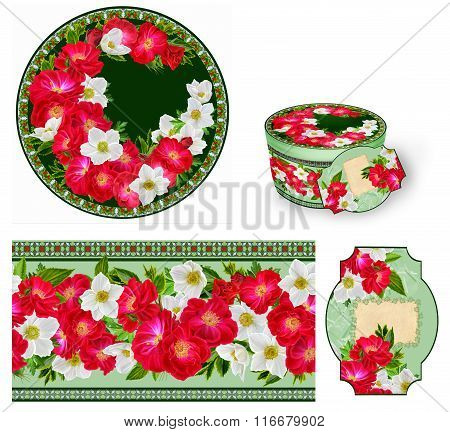 Set For Packaging. Box Round. Label.decoupage. Floral Background. Flower Border. Pattern. Mosaic. Re
