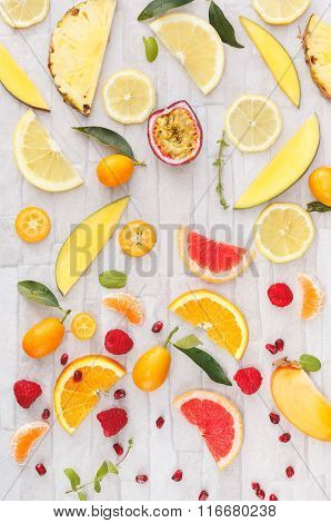 Collection of fresh  yellow, orange and red fruits