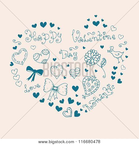 Vector hand drawn greeting card with Valentine's Day symbols