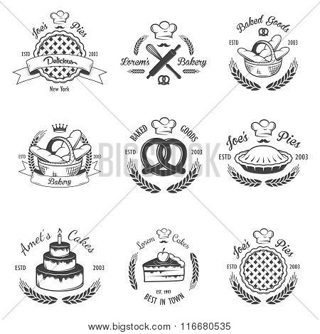 Set of vintage black and white bakery emblems, labels and design