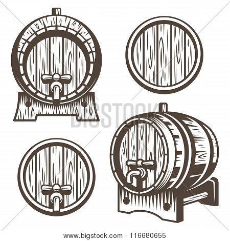 Set of vintage wooden barrels