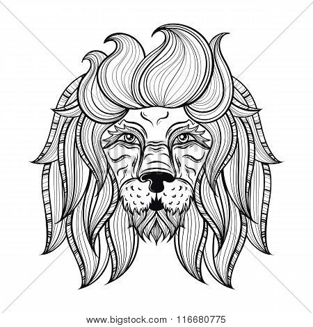 Vector ornamental Lion, ethnic patterned head. Hand drawn bohemi
