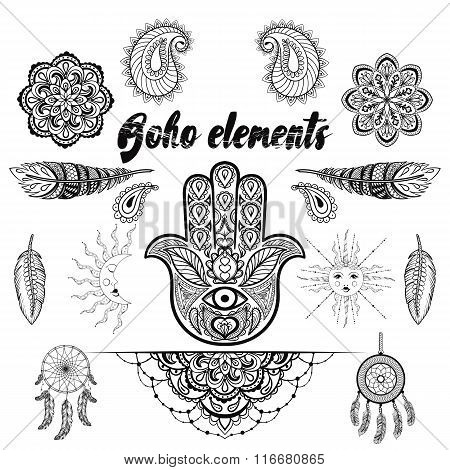 Vector bohemian ornamental elements, makhenda,  hand drawn boho