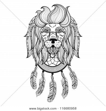 Vector ornamental Lion with dreamcatcher, ethnic patterned head.