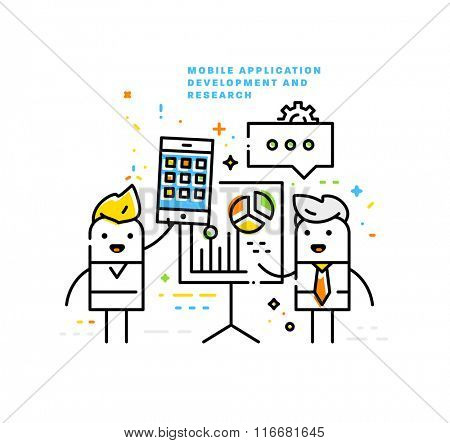 Mobile Application Development. Product Presentation. Flat Style, Thin Line Art Design. Business Icons Set.