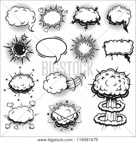 Set of comics speech and explosion bubbles