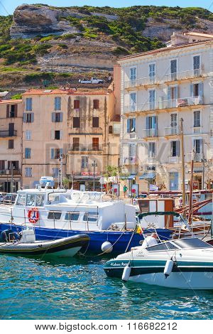 Small Resort Port Town Of Corsica Island In Summer