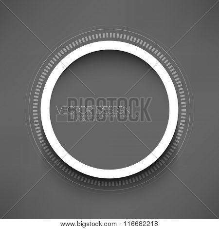 isolated round paper white frame on gray background