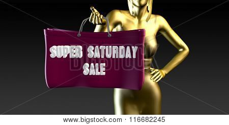 Super Saturday Sale with a Lady Holding Shopping Bags