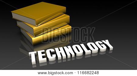 Technology Subject with a Pile of Education Books