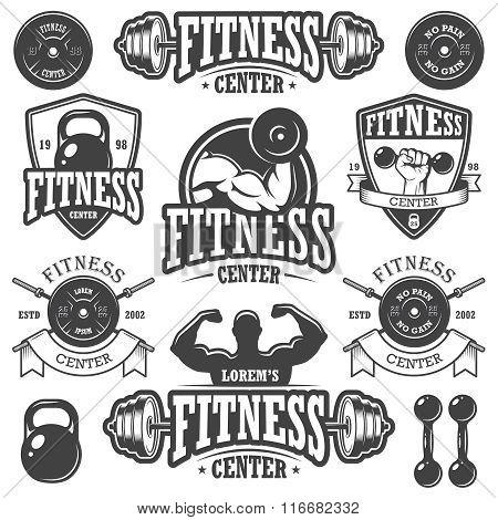 Set of monochrome fitnes emblems