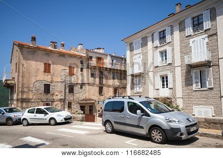 Street View With Parked Cars. Sartene Town, Corsica
