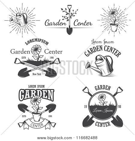Set of vintage garden center emblems.