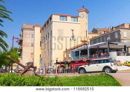 Corsica Island, Street View Of Resort Town In Summer Day