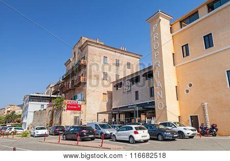 Corsica Island, Street View Of Resort Port Town In Summer