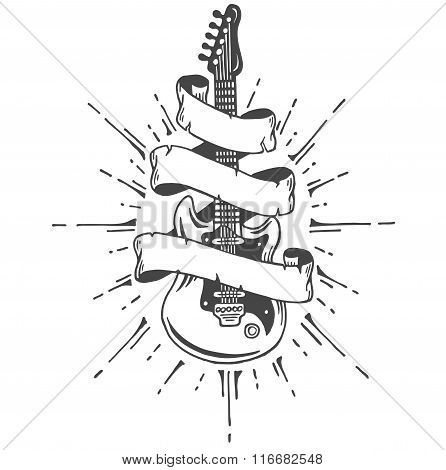 Hand drawn electric guitar with ribbon and text