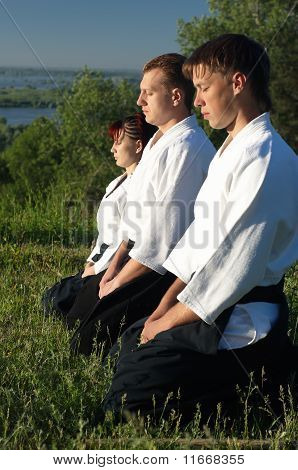 Three Young Aikido Man