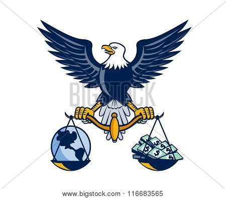 Bald Eagle Hold Scales Earth Money Retro