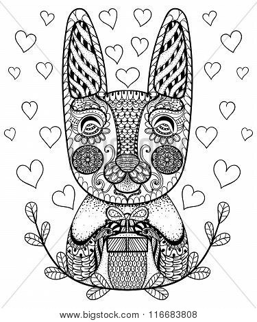 Hand drawn Easter Rabbit with gift and hearts in doodle, pattern