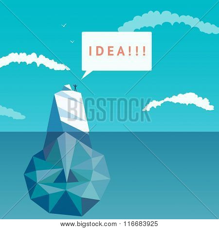 Surface idea. Abstract light bulb of triangles ice. Iceberg.
