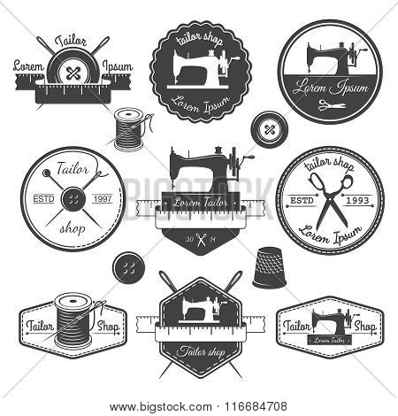 Set of vintage tailor labels, emblems and designed elements. Tai