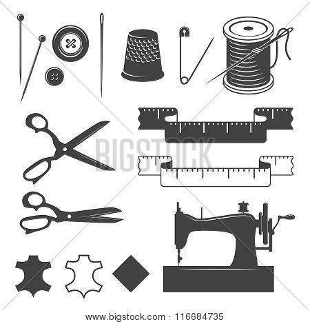 Set of sewing desinged elements