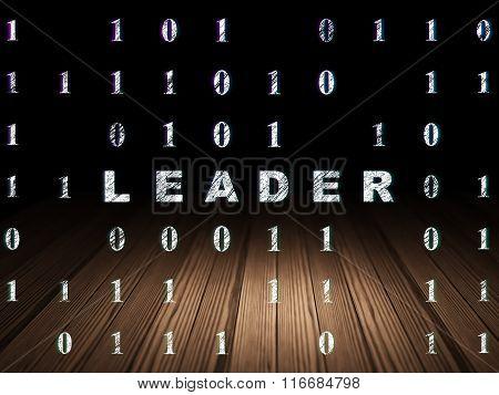 Business concept: Leader in grunge dark room